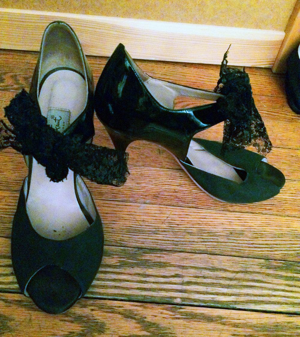 Comme Il Faut, Black Suede/Lace, Size 9/39, Used, $65