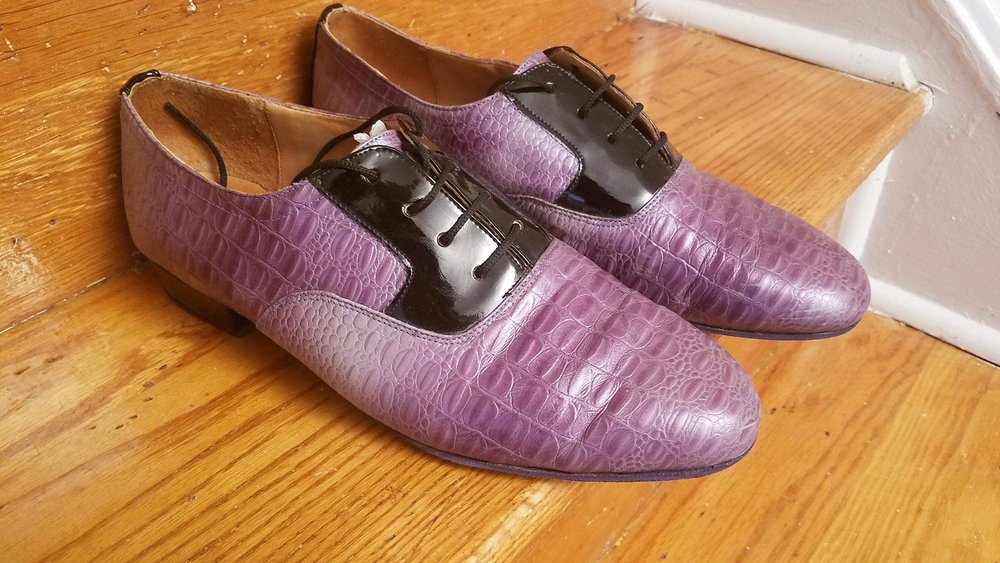 Pedro Lopez Shoes, Purple Croc/Black Patent Leather, US Size 12.5/Euro 47, New, $65