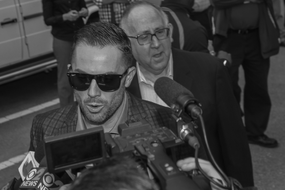 David Wright speaks to reporters and fans / Photo Daniel William McKnight