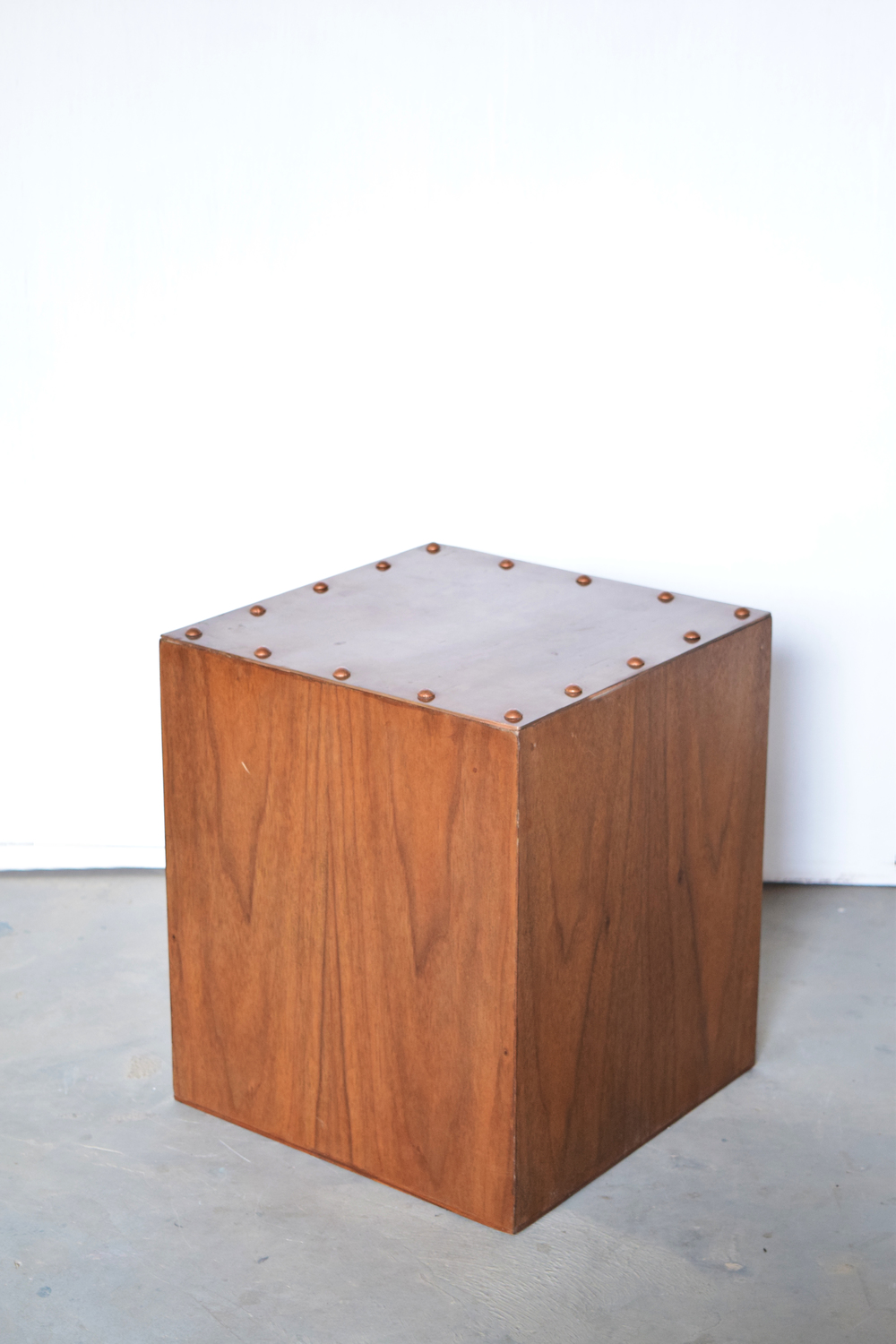 Studded Copper Cube Stool