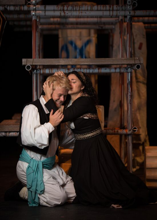 Max Huftalin, a BFA in Theatre Performance at Westminster College (left), plays the role of Orestes, and Melanie Nelson (right) plays Electra. Watch as brother and sister reunite after spending several years apart. Photos courtesy Max Rutherford, Lounge Productions