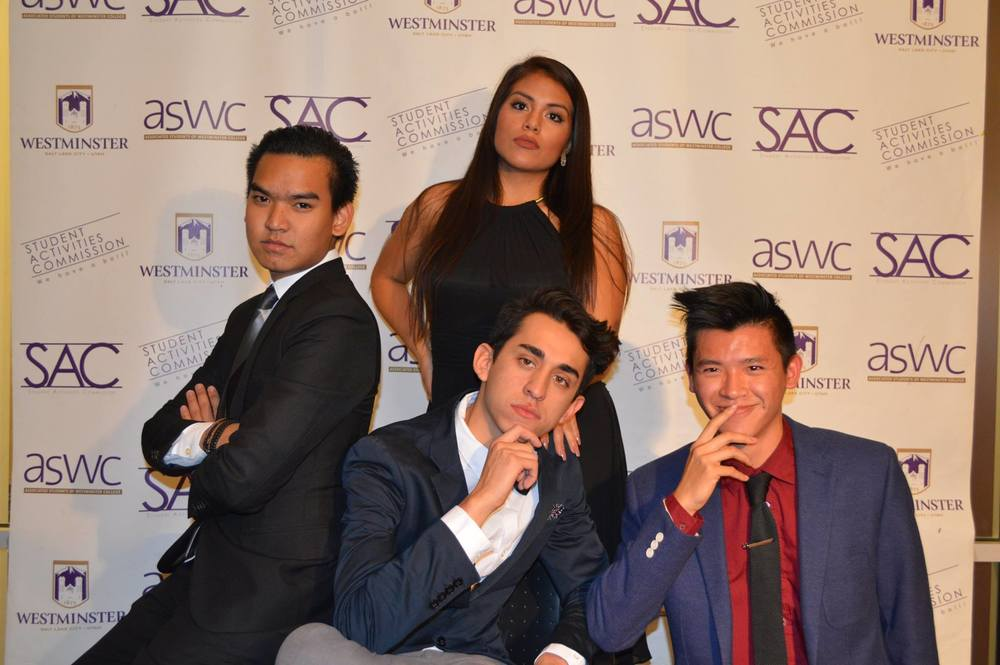 A group of Westminster students pose for the camera at SAC's Casino Night, dressed to the nines for the event.