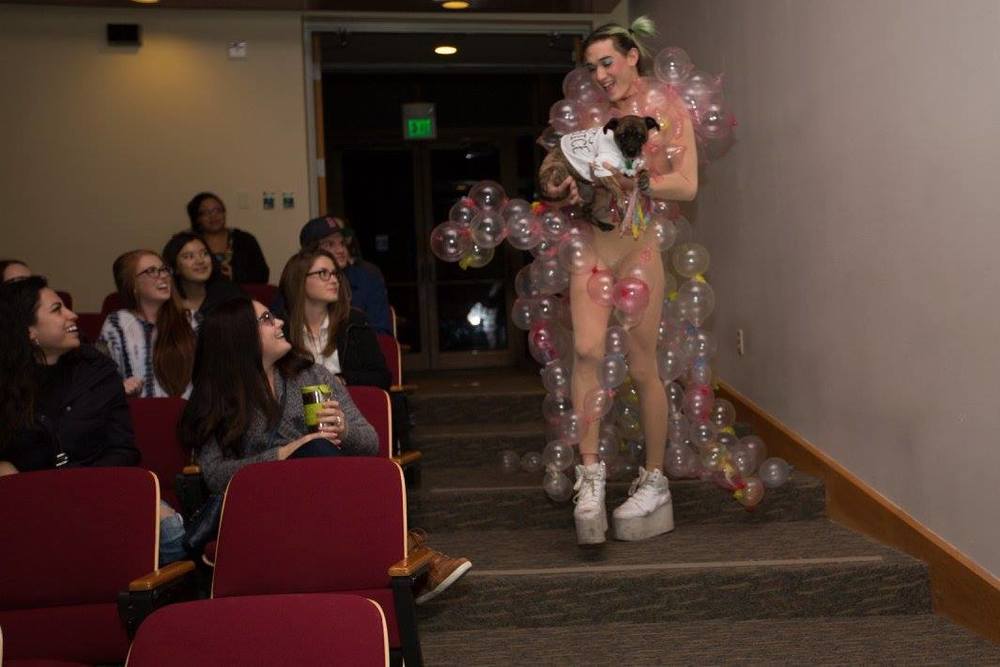Five teams competed at the Students for Choice Condom Fashion Show on Nov. 17 at 6 p.m. in the Gore Auditorium for a $200 surprise. The event aimed to raise awareness for safe sexual practices. Photo by Blake Bekken