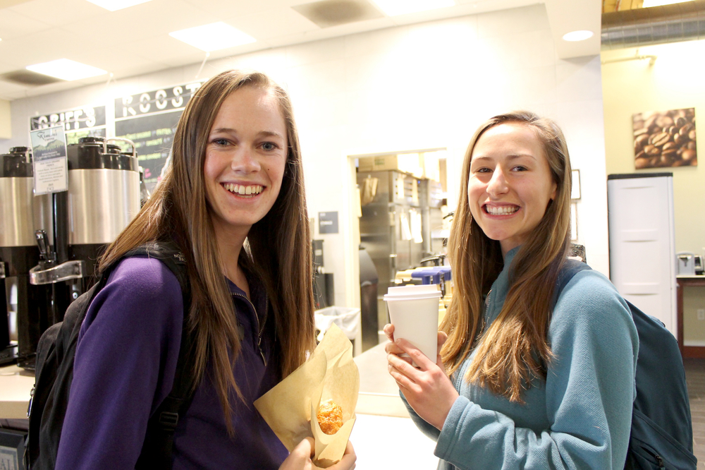 "Lilly Wolfe (left), sophomore communication major, and Rachel Terran (right), sophomore communication major. Order: Black coffee Is this your regular order? ""I make coffee at home, but my friend Lilly (pictured left) has a meal plan and offered to buy me a coffee today."""