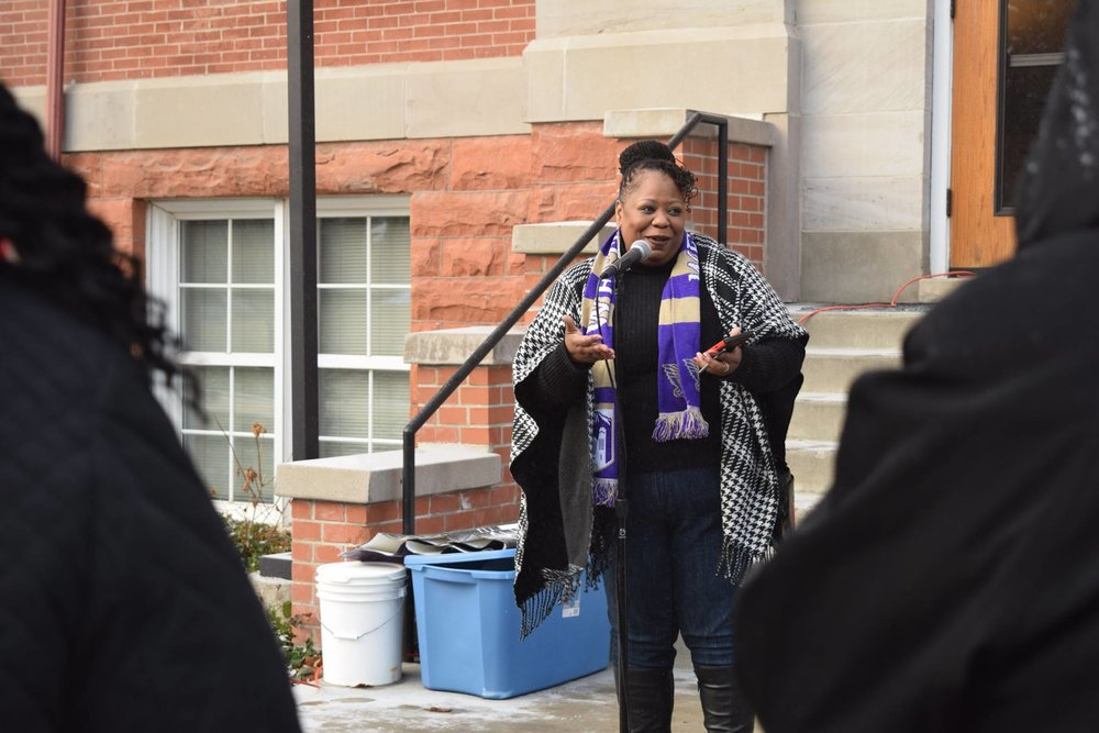 Tamara Stevenson, a communication professor at Westminster College, speaks outside Converse Hall at a Martin Luther King Jr. Day rally on Jan. 16. Stevenson said it's important to recognize and celebrate black history not only during the month of February but also all year round. Photo by Jane Jerman