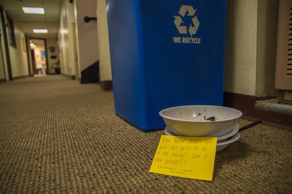 A bowl filled with rotting food sits in the basement of the Shaw Student Center at Westminster College. Failure to return dishware to the Cornerstone Cafe is a widespreadissue—over the course of the spring semester, Bon Appétit has lost 800 forks, 636 knives and 536 plastic cups, which the college now has to replace. Photo by Christian Anderson.