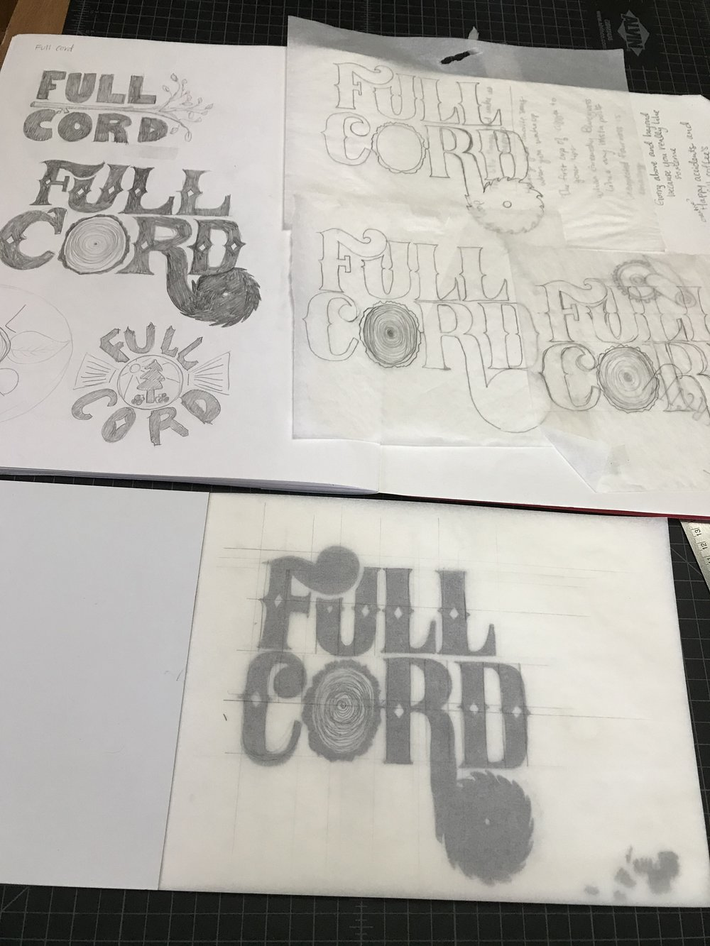 Process photo: upper left corner shows some of the first hand drawn ideas, and the rest of the images show the refinement process where I straightened out letters and spacing.