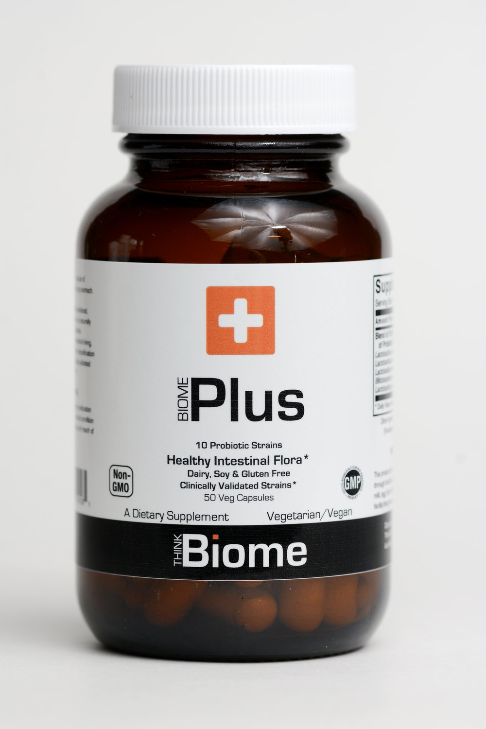 Biome Plus Probiotic - Biome Plus is an ultra-potent, hypoallergenic blend of ten certified probiotic strains formulated to provide 50 billion CFUs in a single capsule. Biome Plus provides a balanced spectrum of live organisms, consisting of acid-resistant probiotic bacterial strains that naturally colonize the human gastrointestinal tract. Probiotic bacteria are critical for healthy digestion, help maintain the integrity of the intestinal lining, support proper intestinal motility and participate in the detoxification process*. The bacterial strains present in Biome Plus have been clinically validated for their support of healthy immune system function*.Refrigeration: You may notice that your probiotic arrives unrefrigerated. Biome Plus is tested extensively and designed to withhold non-refrigeration for approximately 2 months without affecting the quality or quantity of live bacteria. Biome Plus probiotic is refrigerated up until the day of shipment.Suggested UsageAs a dietary supplement take one capsule daily or as directed by a healthcare practitioner.Supplement FactsServing Size:                               1 CapsuleServings Per Container:              50 vegetarian capsulesAmount Per Capsule % Daily ValueProbiotic Blend (50+ billion CFUs) in a base of cellulose:Lactobacillus acidophilus (La-14), Bifidobacterium lactis (BI-04),Lactobacillus plantarum (Lp-115), Bifidobacterium lactis (BI-05),Lactobacillus rhamnosus (Lr-32), Strepto. thermophilus (St-21),Lactobacillus paracasei (Lp-37), Bifidobacterium breve (Bb-03),Lactobacillus salivarius (lS-33), Lactobacillus casei (Lc-11).DetailsOther Ingredients: Cellulose Powder, Cellulose (capsule), FOS (Fructooligosaccharides), Ascorbyl Palmitate and Silica.Not manufactured with wheat, gluten, soy, milk, egg, fish, shellfish or tree nut ingredients. Produced in a GMP facility that processes other ingredients containing these allergens.This product is formulated to deliver a potency of 50 Billion Organisms through the Best By date.Caution: Consult physician if pregnant/nursing, taking medication, or have a medical condition. Keep out of reach of children.