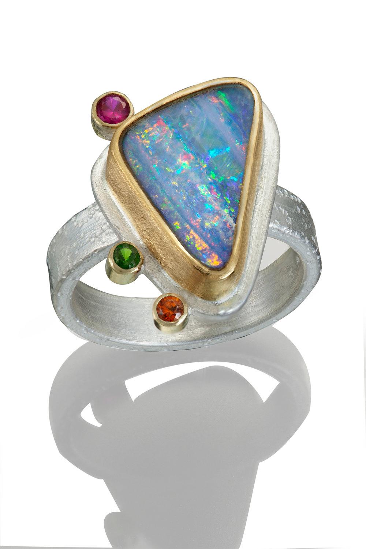 Opal, Sapphire, and Tsavorite Ring