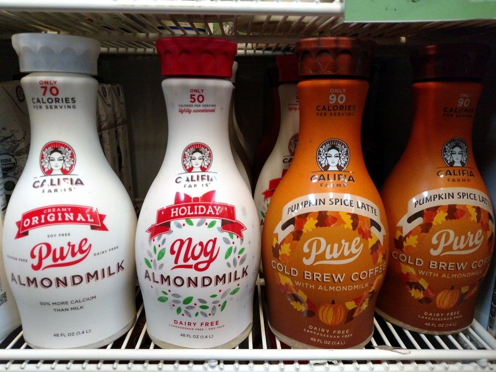 Get the holiday vibes flowing with Califa Farms dairy-free egg nog and pumpkin flavored cold brews!