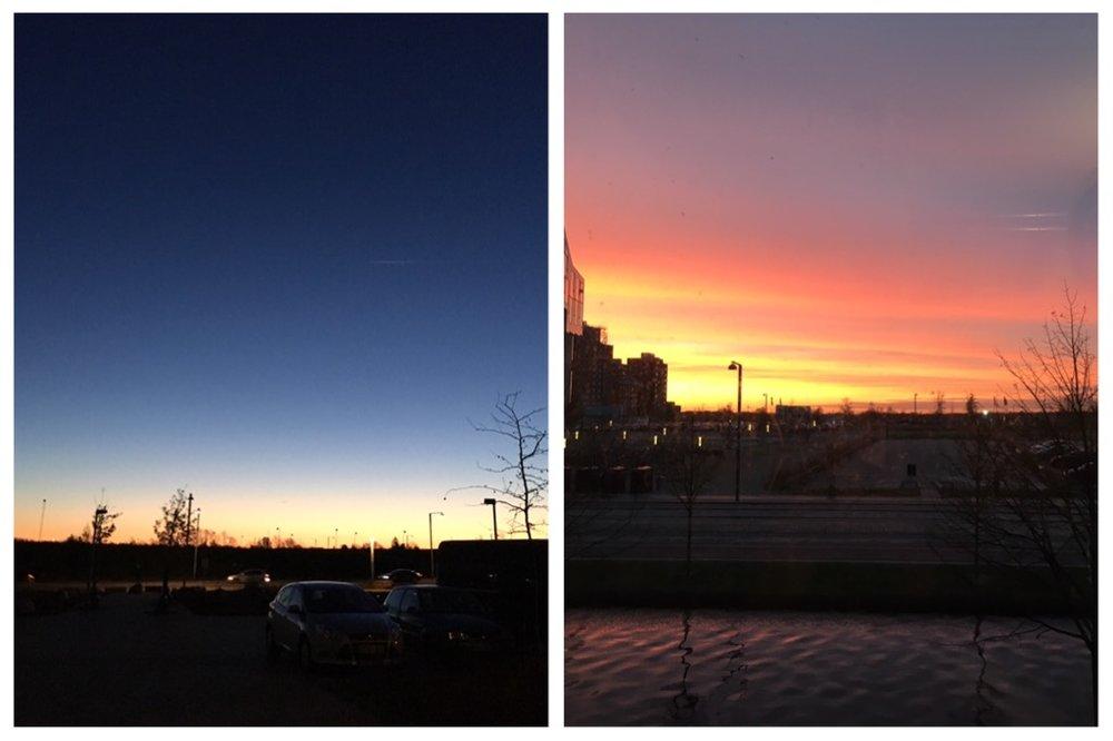 Sunrise & sunset.