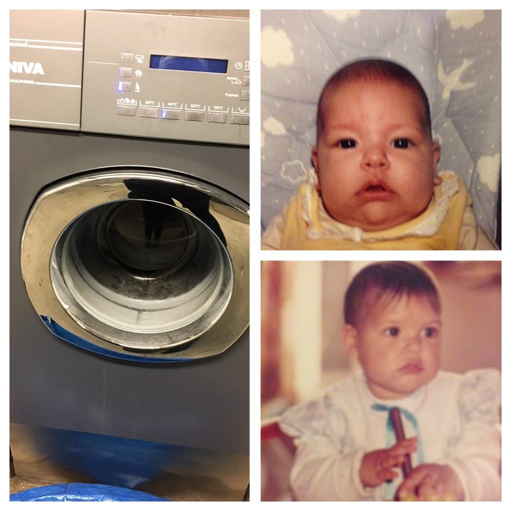 Laundry & old baby photos