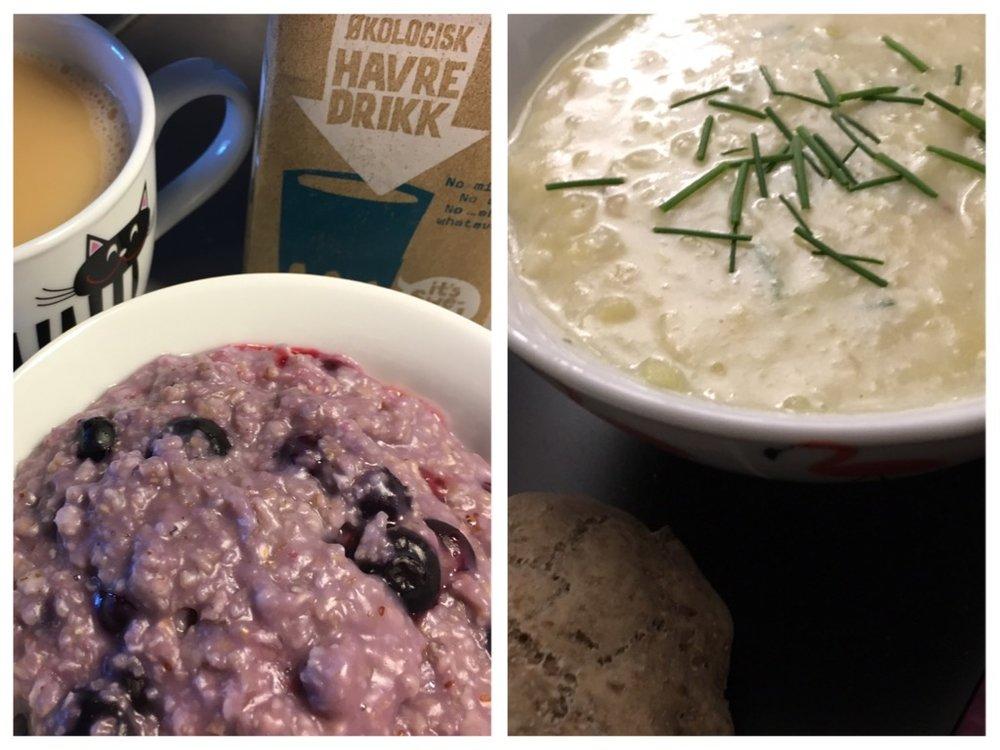 Purple porridge & Potato leek soup