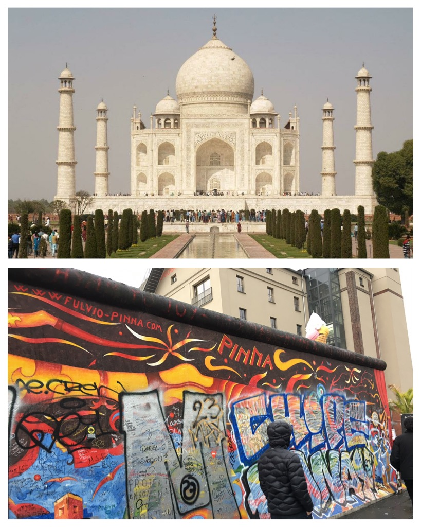 India: Taj Mahal in Agra Germany: The Berlin Wall in Berlin