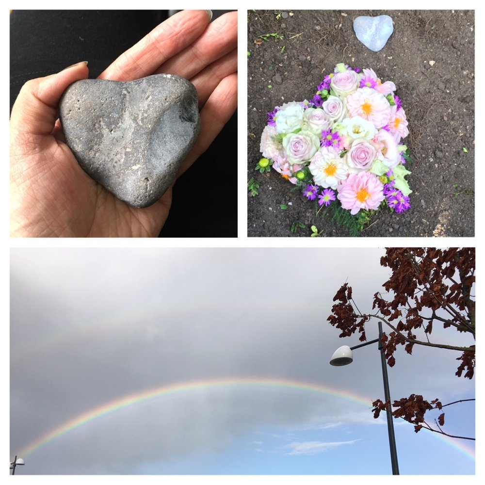 Heart shaped stone, flowers and two rainbows for Indira