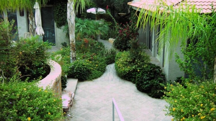paver patio and walkways with plantings