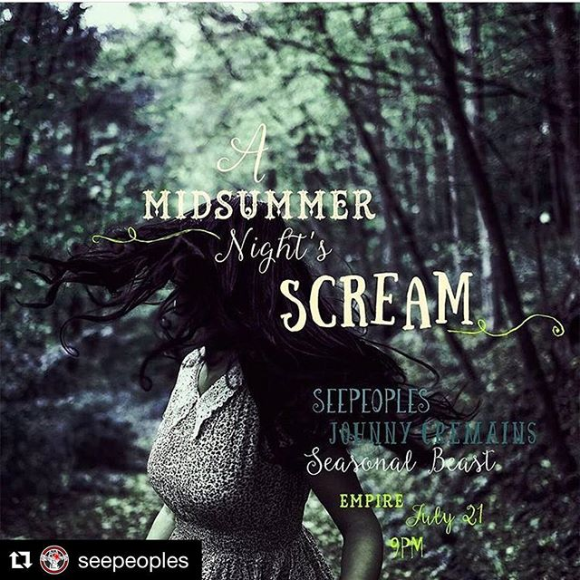 #Repost @seepeoples ・・・ #justannounced @hottrashportland presents #midsummernightsscream @portlandempire JULY 21 w @johnnycremains @seasonalbeastyeah tix avail NOW! At venue.portlandempire.com  #indiemusic #newshowalert #antigenre