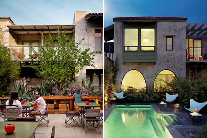 Hotel San Jose-Austin, Texas (Left Photo by Casey Dunn, Right Photo by Tom Loof)