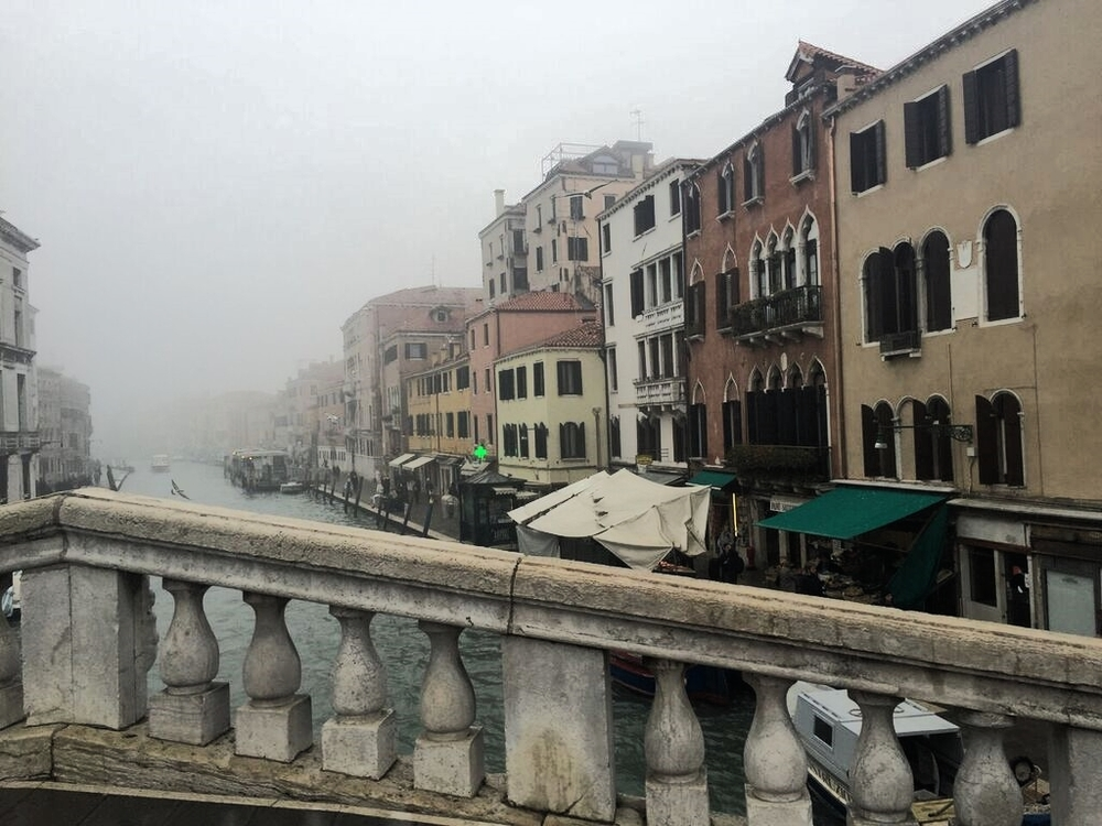 A fog covered canal near our hotel.
