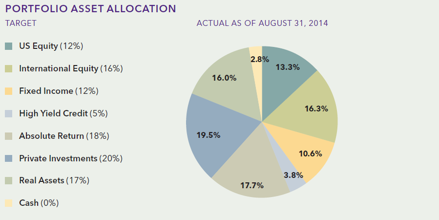 Northwestern university endowment asset allocation. VC and PE are clubbed under Private investments
