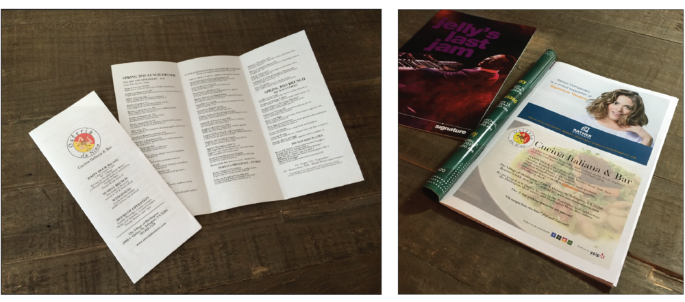 Brochure / Menu (Left) and Marketing Ad (Right) as featured in Signature Theatre's program for Jelly's Last Jam.