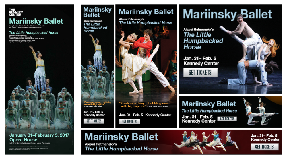 Poster as displayed in the Hall of States at The Kennedy Center (left), Web ads as seen in various theater and performing arts websites (right).