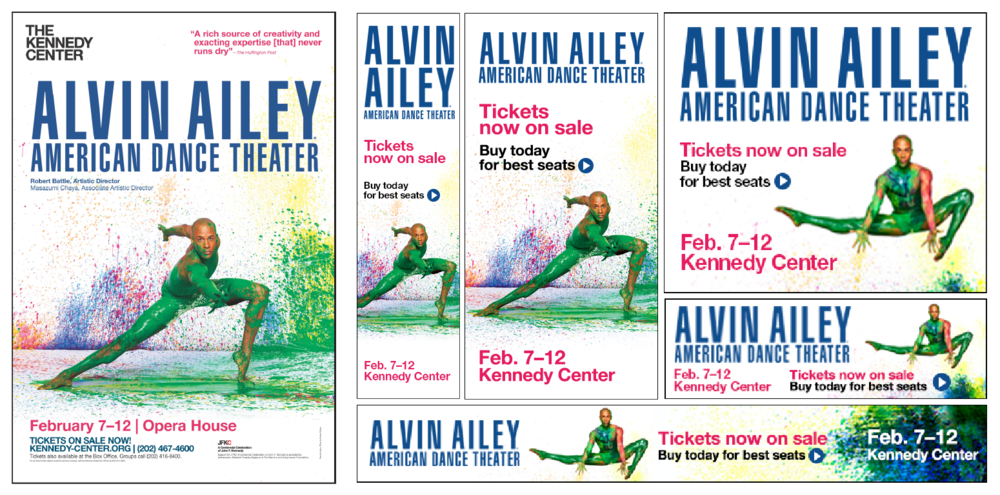 Show poster posted on several establishments in the D.C. area (left),   web ads for usage on various theater and performing arts websites (right).