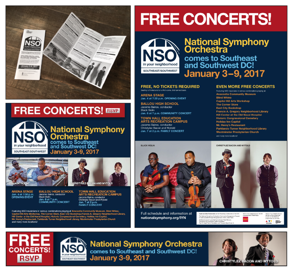 Tri-fold brochure for the annual NSO event in Washington D.C., web ads for social media and performing arts websites, and performance poster given to several establishments to promote the event.