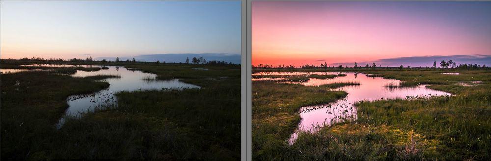 Vasemmalla neljästä kuvasta yhdistetty HDR-raakile ja oikealla lopullinen muokattu versio. Onko kuvankäsittelyssä menty liian pitkälle?