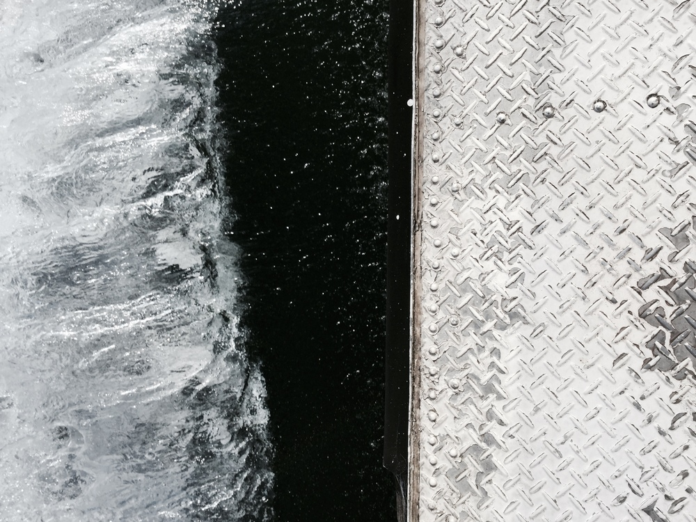 Glassy/Icy texture of the broken waters of Lake Biwa, Japan.