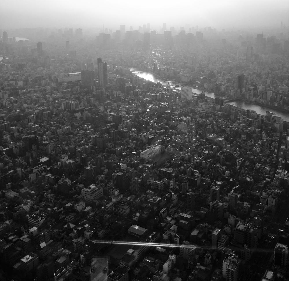 Tokyo Skyline.Sunset/light revealing a hovering presence.