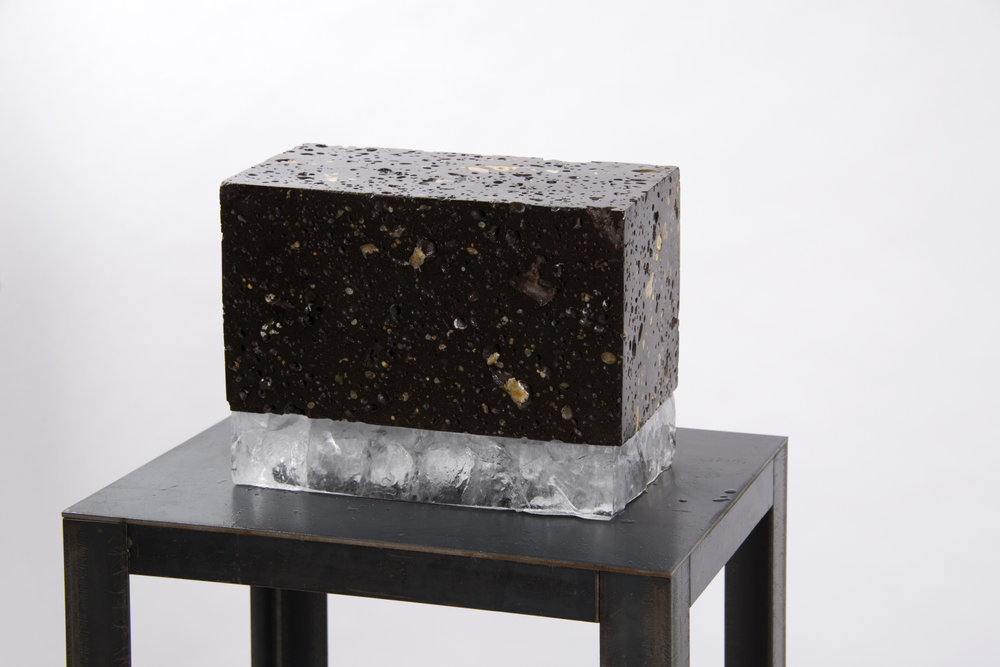 'Untitled', (volcanic rock and ice), 23cm x 30cm x 16cm.