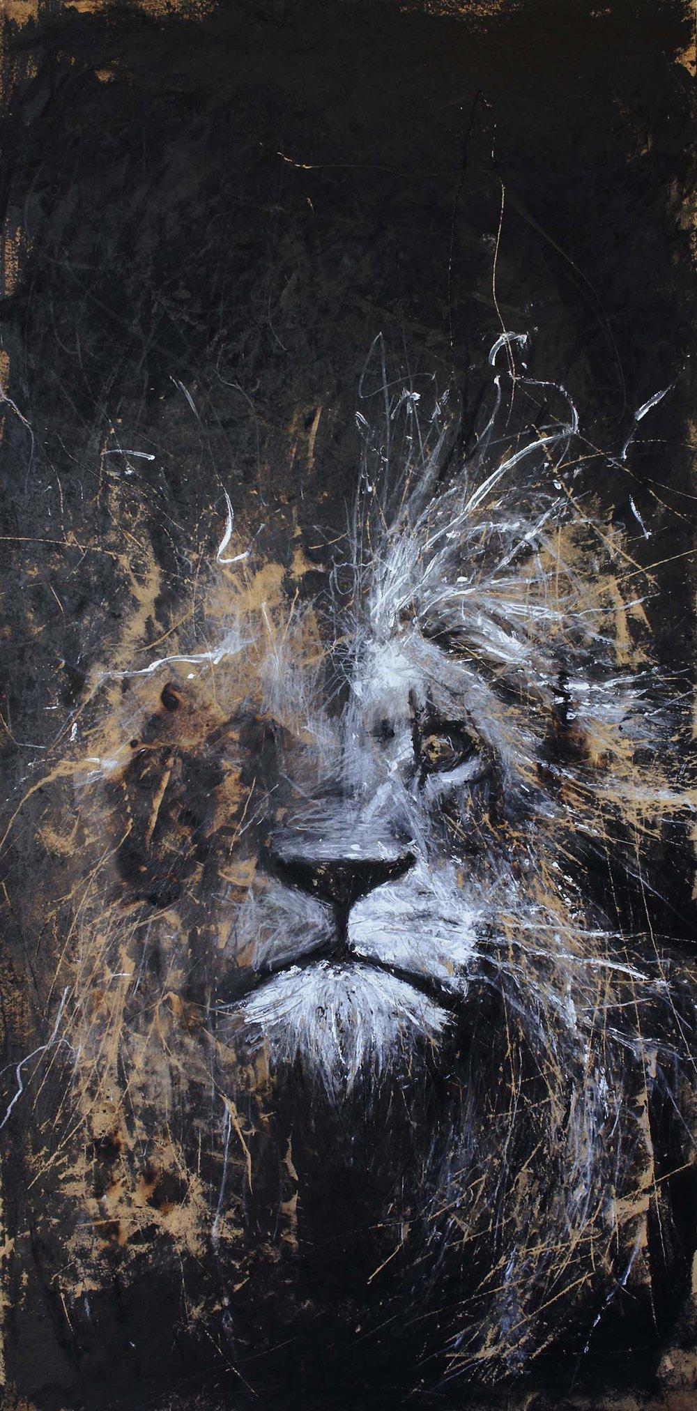 'Aslan, a depiction of Jesus' on wood, 124cm x 60cm [SOLD]