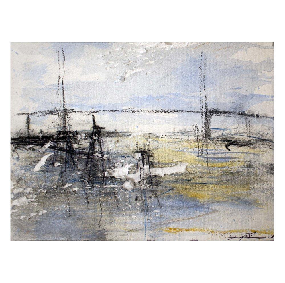 "'Queen Elizabeth II Bridge'  Acrylic, charcoal and ink on Paper,  11""x 15"" [SOLD]"
