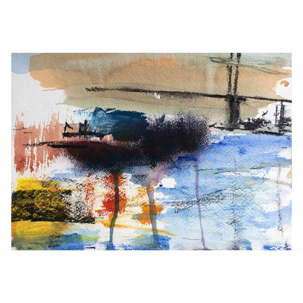 """'Palette of Colours' Acrylic and charcoal on Paper, 11""""x 15"""" £250"""