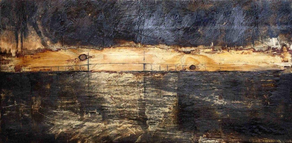 "'Thames Estuary Sunset, Queen Elizabeth II Bridge' on Wood, 24""x 48"" £500"
