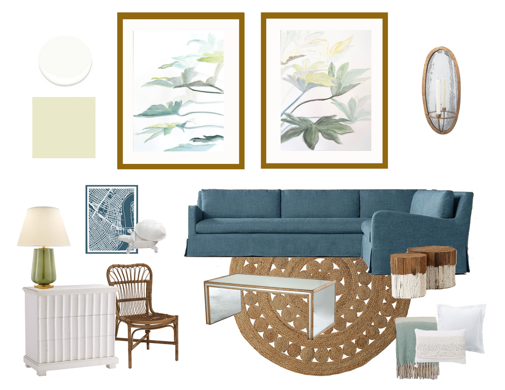 S  ectiona l /  Chair  /  Chest  /  Rug  /  Lamp  /  Sconce  /  Coffee Table  /  Stumps  /  Large Pillow  /  Small Pillow  /  Throw  /  Map  /  Turtle  /  White Paint  /  Green Paint  /  My Art