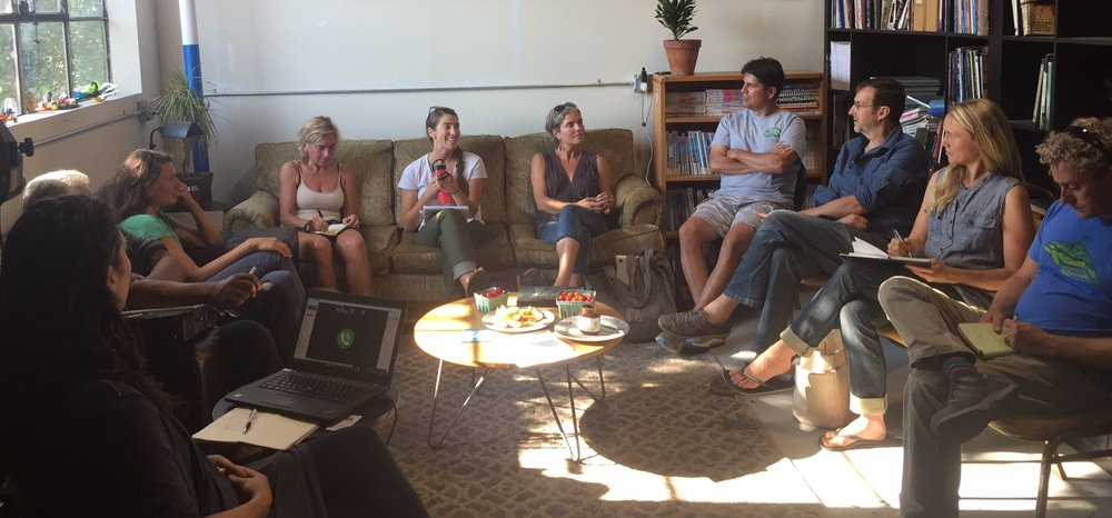 Above: Stakeholders meet to discuss restorative ocean farming.  A meeting hosted by LIFT Economy on August 8th, 2017 at Chimera Arts Space in Sebastopol, CA attended by John Roulac, Founder of Nutiva, representatives from local tribal groups, Dan Marquez of Pharmersea, HOG Island Oyster Company, Slow Food SF and other concerned and engaged citizens discussing the future of restorative ocean farming in California.