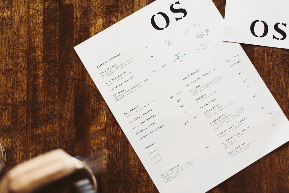 Menu at OS-Rôtisserie de Quartier