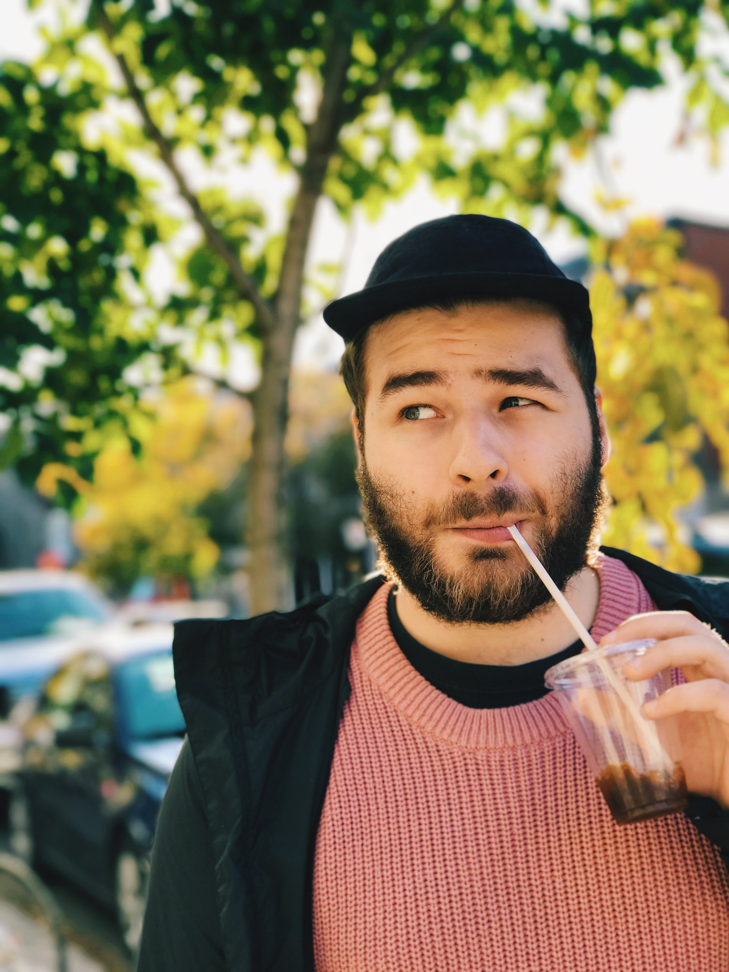 Portrait of my boyfriend, Mile-End, Montreal. Exposure 1/138 at f/2.8. Edited with VSCO.