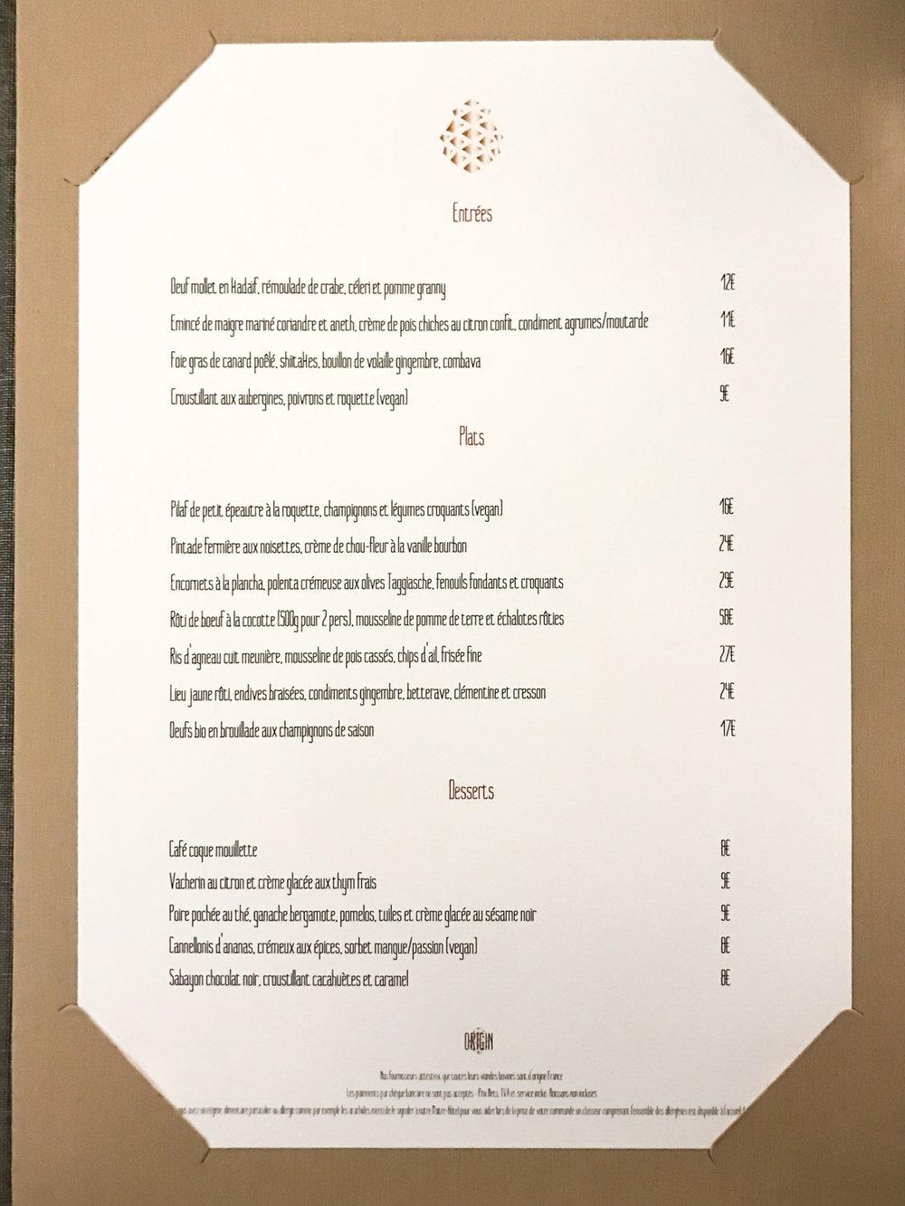 Menu du ORIGIN Restaurant au Renaissance Paris République -Toutes les photos sont sous Copyright © 2017 Jeff Frenette Photography / dezjeff. Pour utilisation des photos, me contacter au dezjeff@me.com
