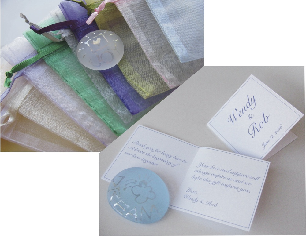 "Custom 2x2"" cards with personalized messages and 4x3"" Organza Bags with a wide variety of color choices to coordinate with your event color theme."