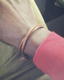 Minimalist Leather Bracelet Closeup