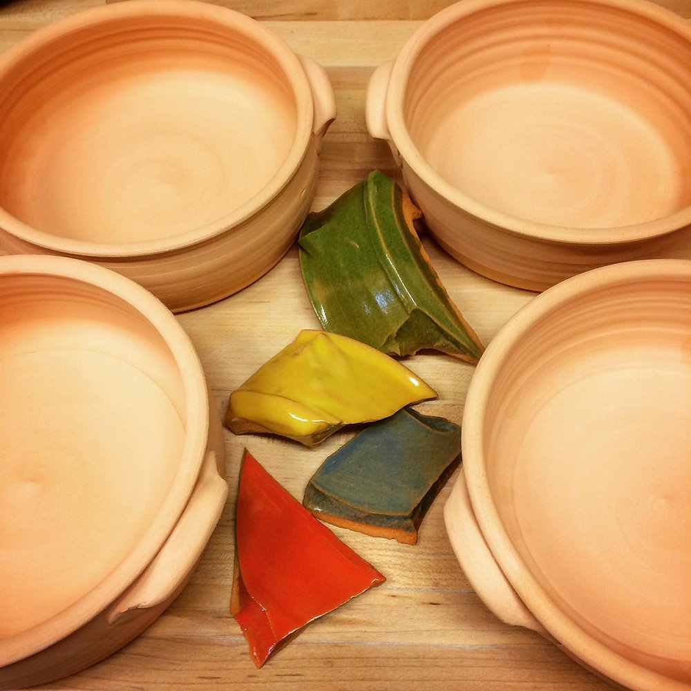 Glaze Teseting Clay Pots for Mykonnos Kuzina