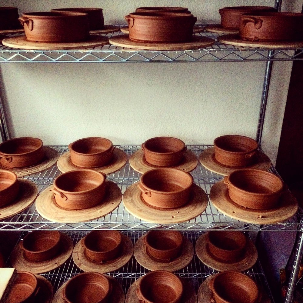 Freshly Thrown Clay Pots for Mykonnos Kuzina