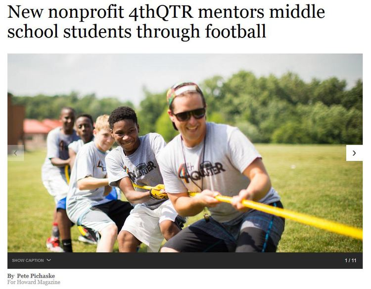"Last fall, the pair founded  4thQTR Inc , a nonprofit that uses sports as a vehicle to mentor local youths. The idea is to help students in the ""fourth quarter of life,"" which Covington and Guy use as a metaphor for the pivotal moments young people face on and off the field.  Their organization got its first gig this spring, a weekly after-school program for students at Elkridge Landing Middle School. The founders held hour-long sessions Monday afternoons from early May to mid-June, during which as many as 18 students gathered outside for exercise and to run football drills, interspersed with big brotherly advice and help with schoolwork. The program focuses on four areas: academic excellence; drug and alcohol awareness; healthy habits and physical fitness; and leadership skill-building through sports.   Click here to see the full article"