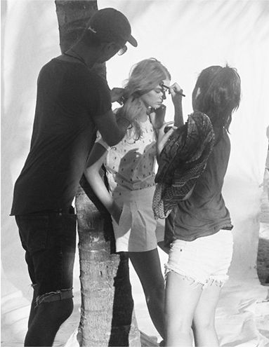 Hair and makeup touch-ups behind the scenes on St. Barths for J. Crew