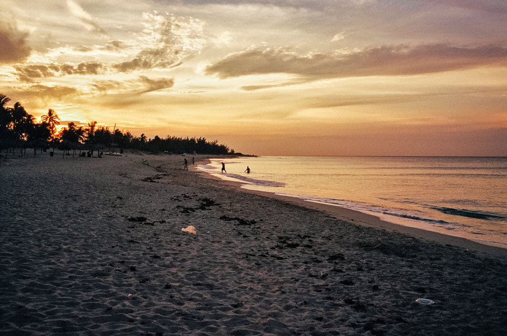 cayo santa maria beach sunset 35mm film