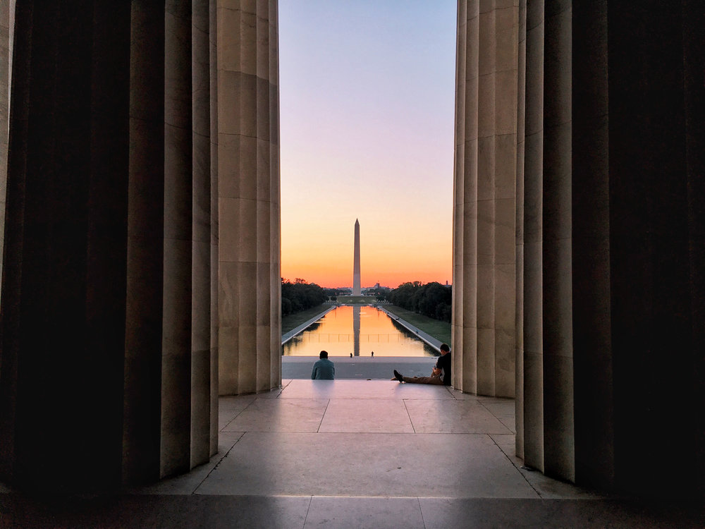 sunrise at lincoln memorial
