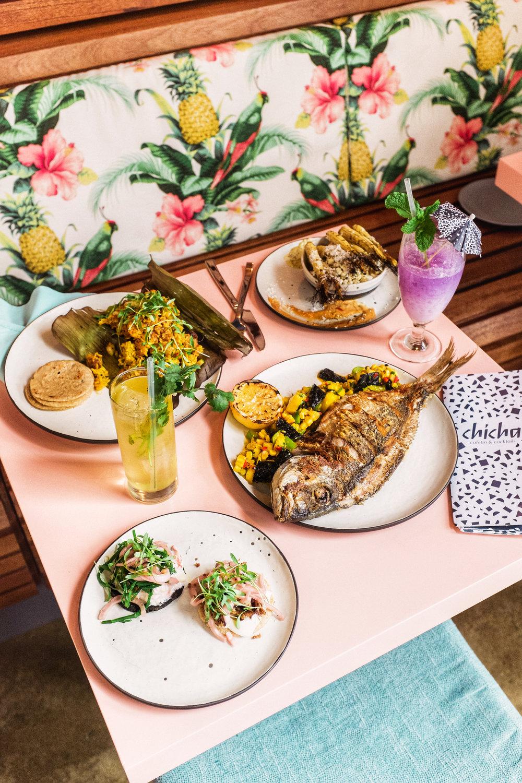 food spread chicha cafetin bushwick